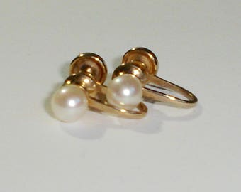 Vintage 12K Yellow Gold Filled Screw Back Earrings w/5 mm Glossy White Pearls