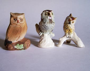 Goebel Owl Figurines - Two Goebel and One Unmarked Owl Figurines - Goebel # 315 and 322
