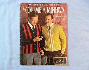 Knitting Pattern Book, Men and Boys, Columbia Minerva Yarns, 1960s