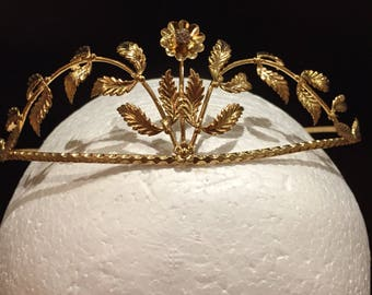 1950s German made gold gilt tiara with matching groom's pin