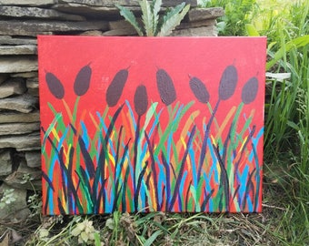 Red reeds. Nature design stretched canvas painting