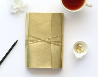 Bible Cover,Bible Journaling Cover for A5 Bibles, A5 Bible Journals. Modern gold wrap holds Bible & Bible Journals. 60 pg Notebook Included.