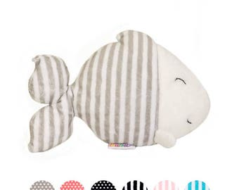 Hand stitched name - Fish plushie - personalised baby gift - under the sea nursery -  fish baby shower -  fish toy - aquatic plush