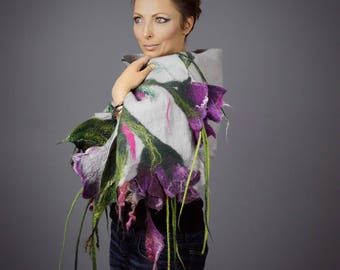Shawl  with flowers / Wrap  / silk shawl / Nuno felting / Handmade felted shawl / Merino wool / Wool Scarf / Made to order/ Free shipping.