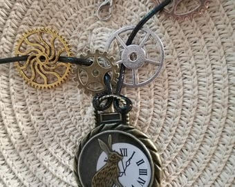 Cord necklace rabbit steampunk Alice in the land of Wonderland