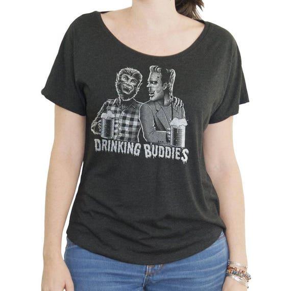 Frankenstein Halloween Shirt - Wolfman Shirt - Womens Craft Beer Shirt - Womens Halloween Shirt Screen Printed on Womens Dolman