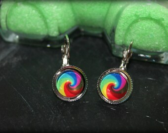 Earrings cabochon mandala ethnic Rainbow