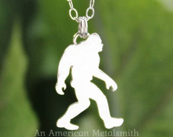 Sterling Silver Sasquatch Necklace, Bigfoot Necklace, Yeti Necklace, Mythology Jewelry, Big Foot, I believe, Science Fiction Jewelry