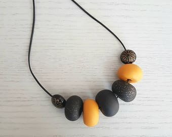 Polymer clay bead necklace, Mustard black and gold clay beaded necklace, polymer clay jewellery, clay necklace, gift for her, mustard
