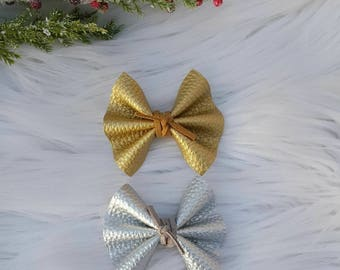 Mini Faux Leather Flutter Bow ~ Nylon Headband ~ Girls ~ Headbands ~ One Size ~ Photo Prop ~ Newborn ~ Infant ~ Toddler ~ Baby ~ Gold~Silver