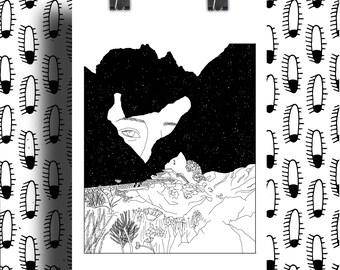 Poster Print Illustration Mountain Girl / Mystic mountain / Black and White