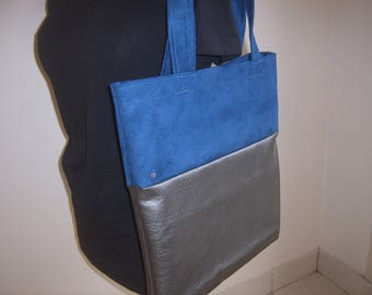 Tote bag bi-material faux leather and suede