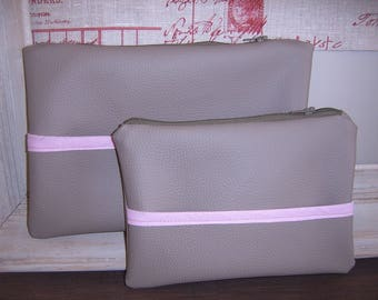 Set of 2 kits in beige and pink imitation leather