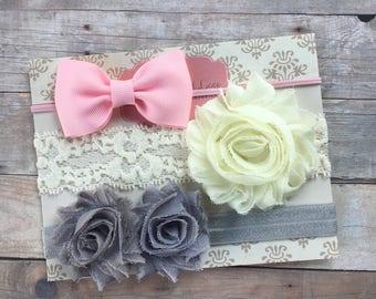 Baby girl headband, shabby chic headbands, Vintage, newborn headband, pink, cream, gray, baby shower gift, baby hair bows, baby headband