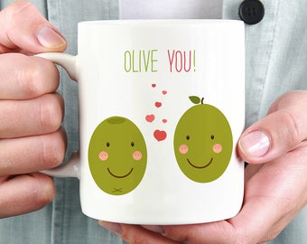 Olive You Coffee Mug - Cute Mug With Two Olives and Hearts