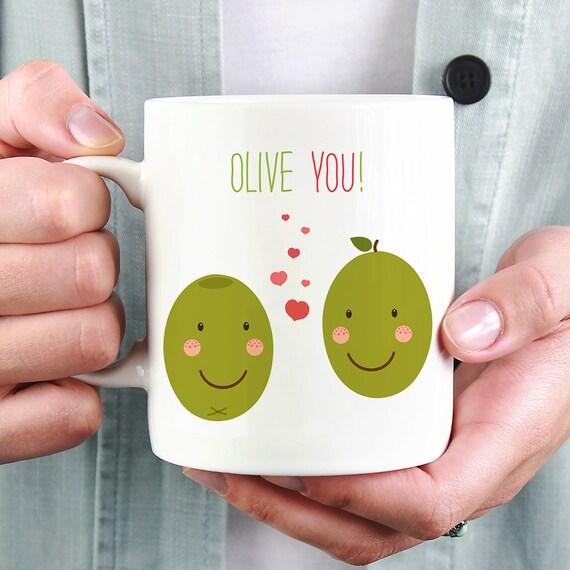 Olive You Coffee Mug - Cute Mug With Two Olives and Hearts