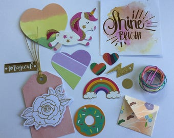 Journaling kit, unicorn paper pack, project life, paper craft pack, embellishments, scrapbooking embellishments, gift tags
