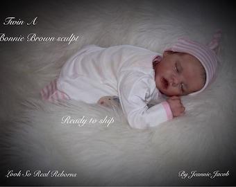 Reborn baby, Twin A , Bonnie Brown Sculpt ,COA ,tummy plate , Ready to ship!