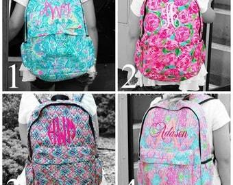Preppy Backpack-Girls Monogram Book Bag-Monogram Backpack--Kids Backpack-Girls Backpack-School Backpack-Canvas Backpack-Designer Backpack