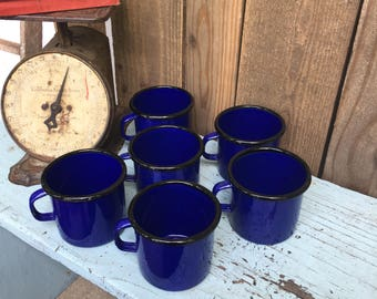Vintage Enamelware Cups - Blue Enamelware - Metal Mugs - Enamelware Mugs - Set of Mugs - Country Kitchen - Farmhouse Style