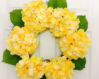 Spring Wreath,Easter Wreath,Summer Wreath, Hydrangea Wreath, Door Wreaths, All Year Round Wreath, Decorative Wreath, Grapevine Wreath
