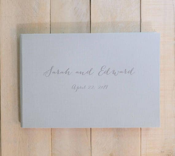 Wedding Guest Book - Personalized - Contemporary Script - Linen