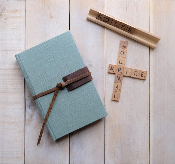 Linen and Leather Lined Journal with Leather Tie, Writing Journal, Notebook for Journaling, Blank Diary, Custom, Note book, Sketchbook