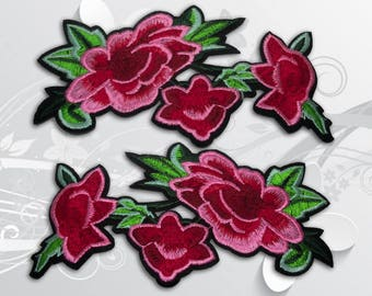 "Flower Iron on Patch (XL2)-Rose Flower Embroidered Applique Patch, Dress Decoration Appliques-Size 6 2/16""(W)x3 1/4''(H)"
