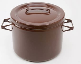 Brown Finel Arabia pot with lid, Seppo Mallet design, made in Finland