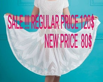 SALE!!!  White knited Lace cotton Dress, lace sundress, sun skirt, women's clothing,  wedding dress, knitted wedding dress Summer dress