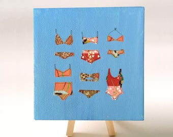 "Bikini Collage - Origami Paper - Acrylic Painting - 5x5"""