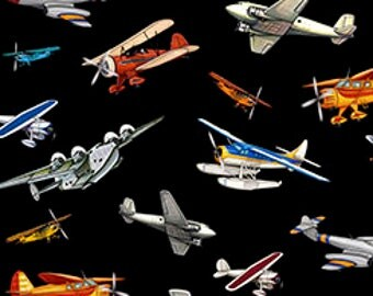 Aviation Fabric / Planes on Black Fabric by the yard / Airplane Fabric, Quilting Treasures 24753 Black  / Airplane Fat Quarters and Yardage