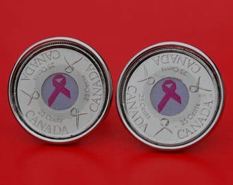2006 Canada Brest Cancer Awareness Pink Ribbon Red Label 25 Cent BU Uncirculated Quarter Cufflinks
