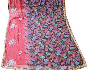 Multicolor Printed Vintage Indian Saree Used Craft Decor Recycled Sari 5Yd Flower Dress Curtain Drape Free Shipping VLUS-104