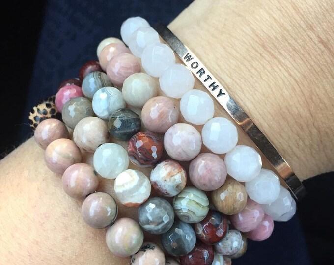 Unconditional Love, Self-Worth + Forgiveness | Spiritual Junkies |Yoga + Mediation | Stack of 5 Mala Bracelets