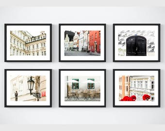 Neutral Art Decor Set of 6 Prints, Red Travel Prints, European Collection, Gallery Wall Prints, Czech