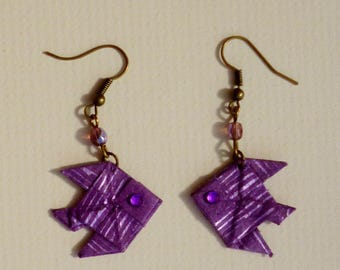 Goldfish earrings double origami paper world PMC No. 3
