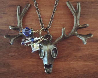 Deer Necklace, Deer Jewelry, Deer Accessories, Hunting Necklace, Nature Jewelry, Hunting - Skullborough Fair Necklace (bronze/blue)