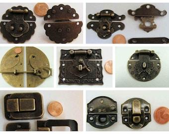 FERMOIR FERMETURE métal couleur bronze cartonnage accessoire menuiserie home déco aspect vintage
