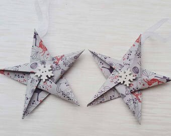 Reindeer themed Star Christmas decorations, Paper Stars, Paper tree decorations, festive, decor, paper, unique, buttons, winter