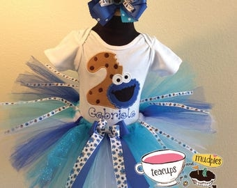 3 Pc Sesame Street Cookie Monster Cookie Age Blue and White Tutu Set  and Bow Headband Ages 1-6,Toddler, Big Girl Sizes 6m-6yr