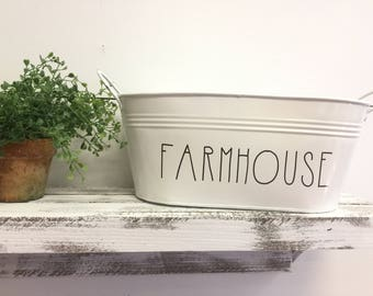 Metal Tins - Farmhouse Decor - Mail Holder - Metal Buckets - YUM - Welcome - Create - Organizer - Rustic Home Decor - Vintage Wedding Decor