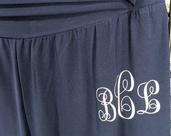 Monogram Navy wide leg palazzo pants