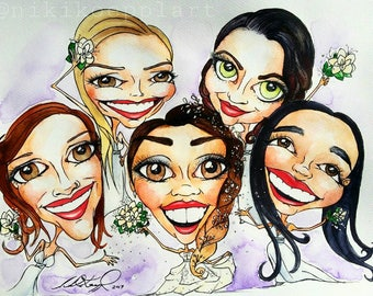 Custom Caricature Portraits, pen & watercolour. Made to order. Single, couples, group portraits available from 70 dollars
