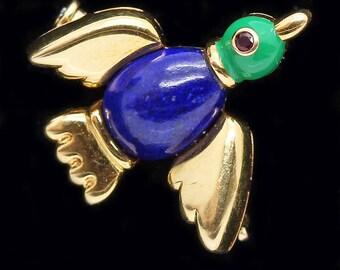 Vintage Cartier Brooch Duck 18k Gold Lapis Lazuli Malachite Ruby Signed (#6303)