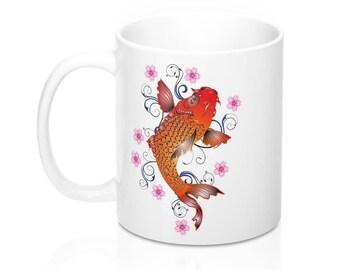 Asia Floral Koi Fish Cherry Blossom Funny Mug 11Oz