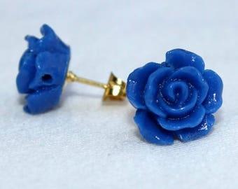 Elegant blue rose stud earrings fashion gold post earrings cosplay costume accessory simple evening wear club dance
