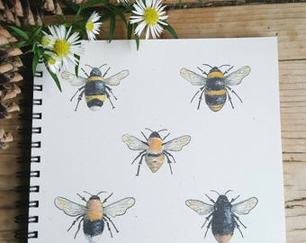 Bee Notebook British Hand Made Originally Painted Images Square