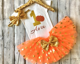 Gold and orange 1st birthday outfit, gold orange pumpkin first birthday, halloween first birthday outfit, pumpkin 1st birthday, bodysuit