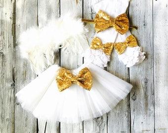 girls angel halloween costume angel outfit angel wings angel costume white and - Halloween Costumes Angel Wings